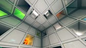 doolhof : Colorful Sci-Fi White Cube Interior Crazy Moves Looping 3D Animation Stockvideo