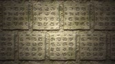 idade : 4K Fictional Ancient Glyph Symbols Carved in Stone Loping Background 1 Vídeos