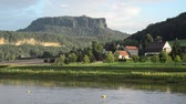schweiz : Elbe River near Kurort Rathen with view of Lilienstein Mountain, Saxon Switzerland, Germany Stock Footage