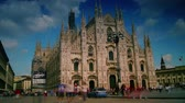lombardia : MILAN, ITALY : (Time lapse View, 4k) People walking in front of Duomo Cathedral