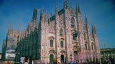 milano : MILAN, ITALY : (Time lapse View, 4k) People walking in front of Duomo Cathedral