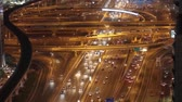 постоянный : Traffic on Sheikh Zayred RD in Dubai at dusk from above Стоковые видеозаписи