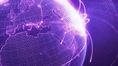 глобализация : 3d animation of a growing network across a stylized particle world. Close-up. Seamless loop. Abstract global business and internet concept. Purple version Стоковые видеозаписи