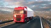 привод : A semi truck passes the camera driving on a highway into the sunset, camera moves from low angle front-view upwards to high angle view as the truck passes. Realistic high quality 3d animation.