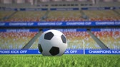 football player : Camera moves towards and around a football lying in the grass in an empty soccer stadium. Version with soccer slogans on the grandstand banners. Wide angle view. Realistic high quality 3d animation.