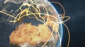 globális : 3d animation of a growing network across a realistic earth. Seamless loop. Abstract global business network concept. Orange closeup day version. Stock mozgókép