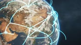 3d animation of a growing network across a realistic earth. Seamless loop. Abstract global business network concept. Blue closeup day version.