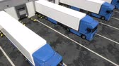 Blue semi trucks loading and unloading goods at warehouse dock. Aerial view tracking shot. Seamless loop. Realistic high quality 3d animation.