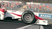 Side view of a generic formula  race car driving across the finish line in slow motion - close-up front wheel - realistic high quality 3d animation Stock mozgókép