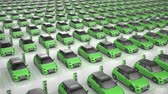 revendedor : Top view of endless green electric self driving car charging at charging station on white background. Alternative energy and ecology concept. Realistic high quality 3d animation.