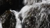 rift : Waterfall fast stream, rapid water with drops over the rocks and stones in watercourse of river or brook, close up