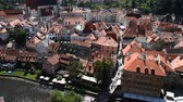 High angle aerial summer day view historical old town of Cesky Krumlow, Czech Republic Stok Video
