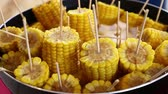 parný : Closeup ready to eat boiled or steamed sweet corn cobs on stick in a big cooking pan, high angle view