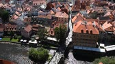 High angle aerial summer day view historical old town of Cesky Krumlow Czech Republic