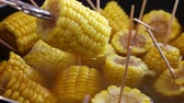 kernels : Closeup boiled cooked corn cobs on stick Stock Footage