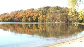 irreal : Fall foliage colors reflect onto calm lake in early afternoon with beach in foreground, and sun angling onto bright trees on island from the side. Stock Footage