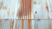 antiquated : Clip of camera panning up on rusty metal siding in abandoned industrial park, natural lighting. Stock Footage