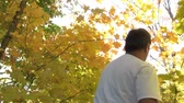 Man is hiking in autumn woods with brilliant yellow coloring emitting from tree leaves as he passes by shot. Stock Footage