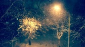 Lighted Lantern at Night in Winter. Snowfall. Heavy Snow in City. Shallow Depth of Field. Focus on Lantern. Toned and Filtered Video. Stock Footage