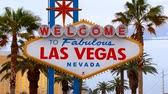 Static view of the world famous Welcome to Fabulous Las Vegas Nevada. Designed in the MidCentury modern architecture style known as Googie the sign is located in the median at 5100 Las Vegas Boulevard South the southern end of the Las Vegas Strip. Stock Footage