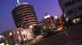 Capitol Records Dusk Time-lapse. Time-lapse of the Capitol Records building during sunset as we look South on Vine Street from between Yucca & Franklin towards Hollywood Boulevard in Los Angeles, California.