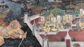 храм : Bangkok, Thailand - March 6, 2018 : The painting on the wall ramayana story at the Emerald Buddha(Wat Phra Kaew or Wat Phra Si Rattana Satsadaram)