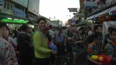 khaosan : Bangkok, Thailand - April 13, 2018 : One of the most popular water fight places during Songkran in Bangkok