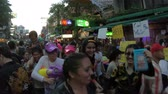 khaosan : Bangkok, Thailand - April 13, 2018 : Songkran Festival on Khaosan Road Stock Footage