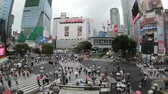 ingázó : Tokyo, Japan - June 20, 2018 : Time lapse of people crossing the famous crosswalks at the centre of Shibuyas fashionable shopping and entertainment district