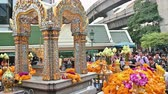 symbol of respect : Bangkok, Thailand - November 23, 2018 : A lot of tourist at Erawan Shrine at Bangkok