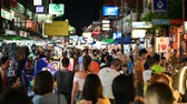 kaosan : Bangkok, Thailand - June 9, 2019 : Tourist walking night tour at Khao San Road