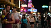 kaosan : Bangkok, Thailand - June 9, 2019 : Tourists and backpackers visited at Khao San Road night market