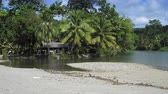 bouda : Scenic view of beach with palm trees and tourist resort, Trinidad, Trinidad and Tobago