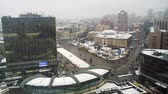 nagylátószögű : time-lapse of traffic in Kiev, Ukraine, first snow