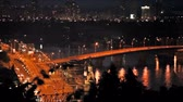 strand road : beautiful view on night city with lighted bridges, Kiev, Ukraine Stock Footage