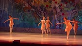 t��o : DNIPRO, UKRAINE - JUNE 26, 2016: Unidentified girls, ages 8-15  years old, perform This eternal ballet tale at State Opera and Ballet Theatre.