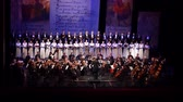 звуковой эффект : DNIPRO, UKRAINE - MARCH 10, 2018: Caucasus - Cantata symphony for choir and symphony orchestra by S.Ludkevich performed by members of the Dnipro Opera and Ballet Theater - main conductor Nazar Yatskiv.