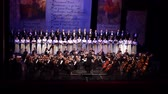 cantar : DNIPRO, UKRAINE - MARCH 10, 2018: Caucasus - Cantata symphony for choir and symphony orchestra by S.Ludkevich performed by members of the Dnipro Opera and Ballet Theater - main conductor Nazar Yatskiv.