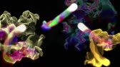 berrante : Multiple quick streams of colorful particles, 3D animation, looping