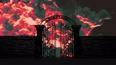 satanic : Gate to Hell open on fiery background, 3D animation