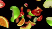 vegetal : Fruit segments fall in the abyss, seamless loop, CG Vídeos