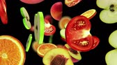 vegetal : Sliced pieces of fruits fall into darkness, seamless loop, CG