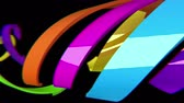 spirally : Multicolored 3D arrows move on black background, CG animation, seamless loop