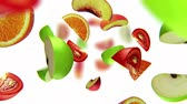 vegetal : Lobules of fruits fall from the top on white background, seamless loop, CG