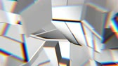 corner : White abstract polygonal broken shapes fluctuate seamless loop. 3D animation.