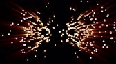speck : Flaming radiant particles on black background, 3D animation.