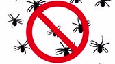 korku : Spiders in prohibition sign. Black silhouettes of arachnids creep up on white background. Seamless loop 3D animation. Stok Video