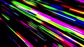 track : Abstract multicolored trails of lights moving on black background. 3D animation, seamless loop.