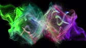 fonte : Two colorful iridescent particle streams spread on black background, 3D animation.
