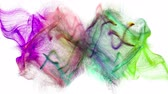 speck : Two colorful iridescent particle streams spread on white background, 3D animation.